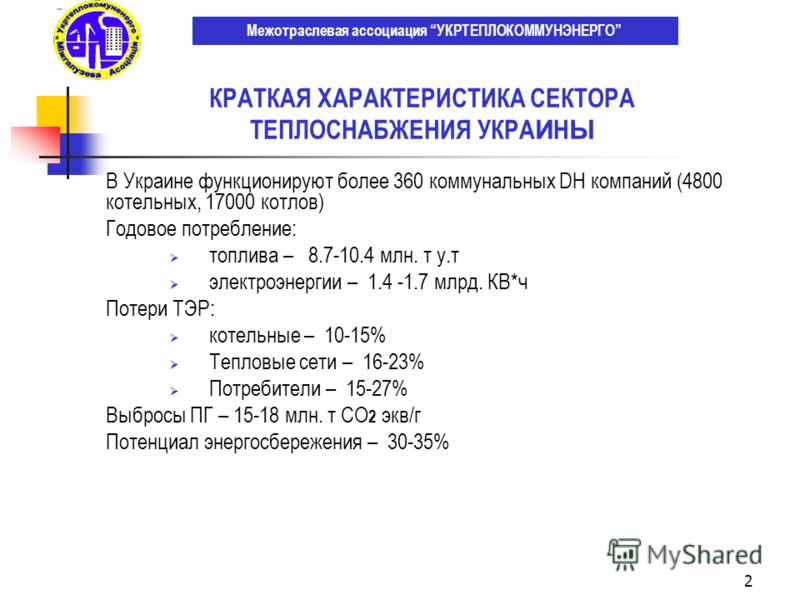 2 В Украине функционируют более 360 коммунальных DH компаний (4800 котельных, 17000 котлов) Годовое потребление: топлива – 8.7-10.4 млн. т у.т электроэнергии – 1.4 -1.7 млрд. КВ*ч Потери ТЭР: котельные – 10-15% Тепловые сети – 16-23% Потребители – 15