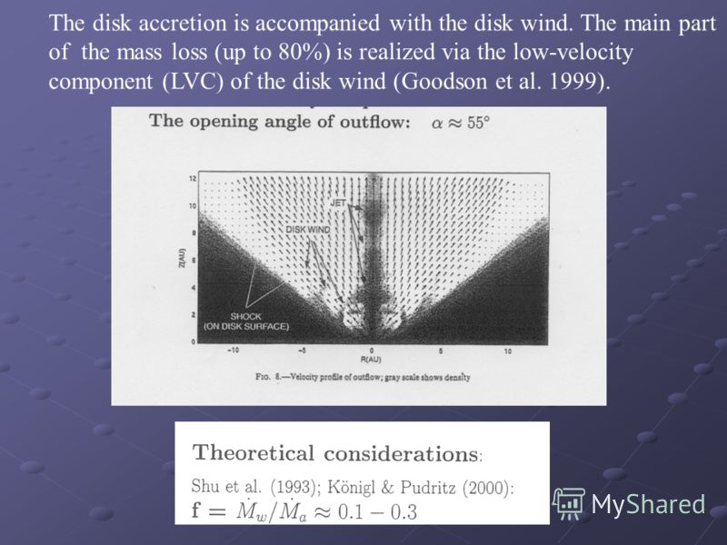 The disk accretion is accompanied with the disk wind. The main part of the mass loss (up to 80%) is realized via the low-velocity component (LVC) of the disk wind (Goodson et al. 1999).