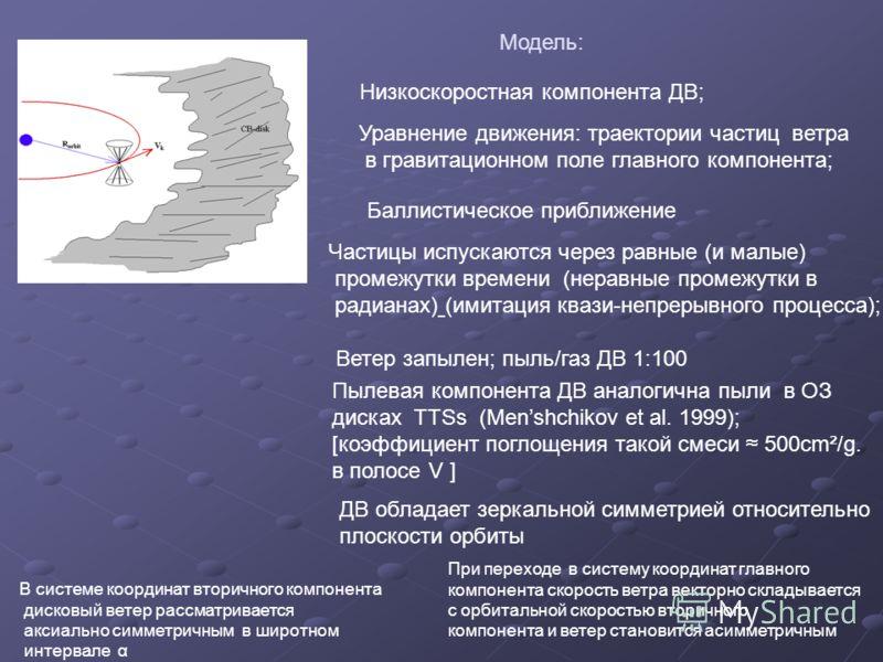 Модель: Низкоскоростная компонента ДВ; Уравнение движения: траектории частиц ветра в гравитационном поле главного компонента; Баллистическое приближение Частицы испускаются через равные (и малые) промежутки времени (неравные промежутки в радианах) (и