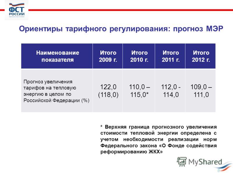 Ориентиры тарифного регулирования: прогноз МЭР Наименование показателя Итого 2009 г. Итого 2010 г. Итого 2011 г. Итого 2012 г. Прогноз увеличения тарифов на тепловую энергию в целом по Российской Федерации (%) 122,0 (118,0) 110,0 – 115,0* 112,0 - 114