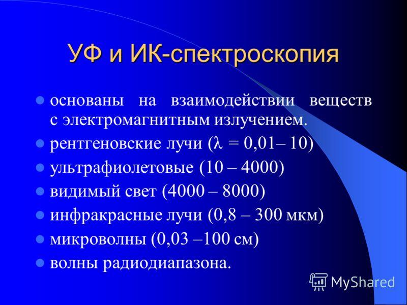 УФ и ИК-спектроскопия основаны на взаимодействии веществ с электромагнитным излучением. рентгеновские лучи (λ = 0,01– 10) ультрафиолетовые (10 – 4000) видимый свет (4000 – 8000) инфракрасные лучи (0,8 – 300 мкм) микроволны (0,03 –100 см) волны радиод