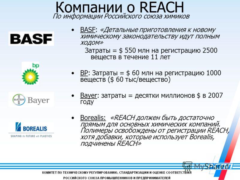 18 BASF: «Детальные приготовления к новому химическому законодательству идут полным ходом» Затраты = $ 550 млн на регистрацию 2500 веществ в течение 11 лет BP: Затраты = $ 60 млн на регистрацию 1000 веществ ($ 60 тыс/вещество) Bayer: затраты = десятк