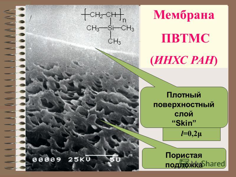 l=0,2μ Плотный поверхностный слой Skin Пористая подложка Мембрана ПВТМС (ИНХС РАН)