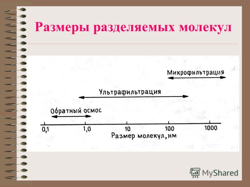 Размеры разделяемых молекул