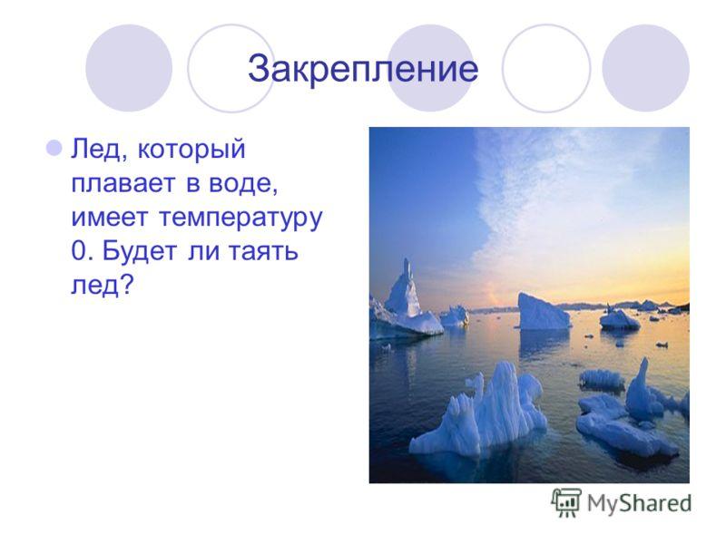 Закрепление Лед, который плавает в воде, имеет температуру 0. Будет ли таять лед?