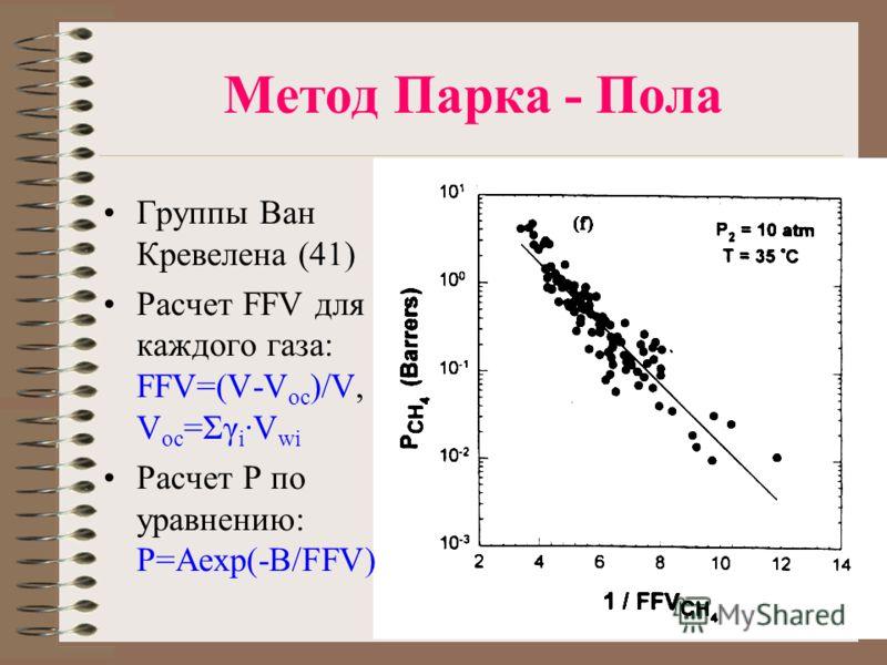 Метод Парка - Пола Группы Ван Кревелена (41) Расчет FFV для каждого газа: FFV=(V-V oc )/V, V oc =Σγ i ·V wi Расчет P по уравнению: P=Aexp(-B/FFV)