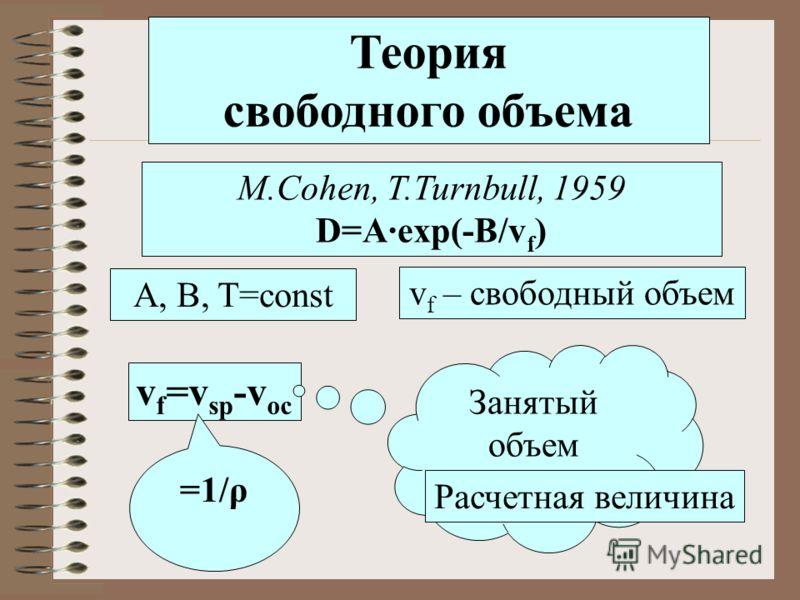 Теория свободного объема M.Cohen, T.Turnbull, 1959 D=A·exp(-B/v f ) А, B, T=const v f =v sp -v oc v f – свободный объем =1/ρ Занятый объем Расчетная величина