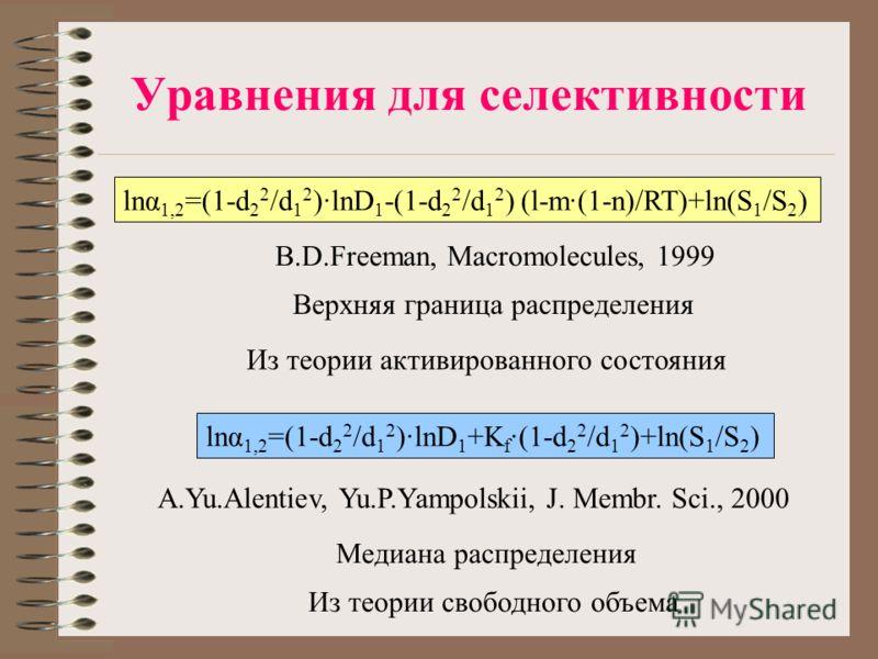 Уравнения для селективности lnα 1,2 =(1-d 2 2 /d 1 2 )·lnD 1 -(1-d 2 2 /d 1 2 ) (l-m·(1-n)/RT)+ln(S 1 /S 2 ) B.D.Freeman, Macromolecules, 1999 A.Yu.Alentiev, Yu.P.Yampolskii, J. Membr. Sci., 2000 lnα 1,2 =(1-d 2 2 /d 1 2 )·lnD 1 +K f ·(1-d 2 2 /d 1 2