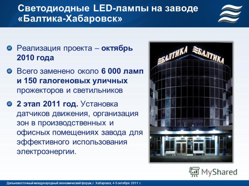 Светодиодные LED-лампы на заводе «Балтика-Хабаровск» Реализация проекта – октябрь 2010 года Всего заменено около 6 000 ламп и 150 галогеновых уличных прожекторов и светильников 2 этап 2011 год. Установка датчиков движения, организация зон в производс