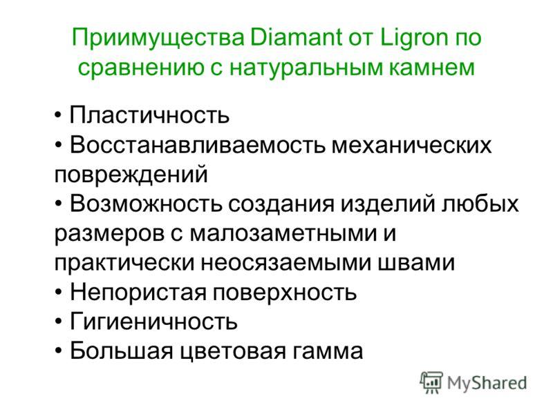 Приимущества Diamant от Ligron по сравнению с натуральным камнем Пластичность Восстанавливаемость механических повреждений Возможность создания изделий любых размеров с малозаметными и практически неосязаемыми швами Непористая поверхность Гигиеничнос