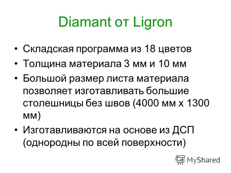 Diamant от Ligron Складская программа из 18 цветов Толщина материала 3 мм и 10 мм Большой размер листа материала позволяет изготавливать большие столешницы без швов (4000 мм х 1300 мм) Изготавливаются на основе из ДСП (однородны по всей поверхности)