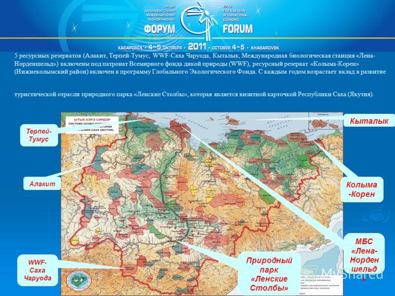 5 ресурсных резерватов (Алакит, Терпей-Тумус, WWF-Саха Чаруода, Кыталык, Международная биологическая станция «Лена- Норденшельд») включены под патронат Всемирного фонда дикой природы (WWF), ресурсный резерват «Колыма-Корен» (Нижнеколымский район) вкл