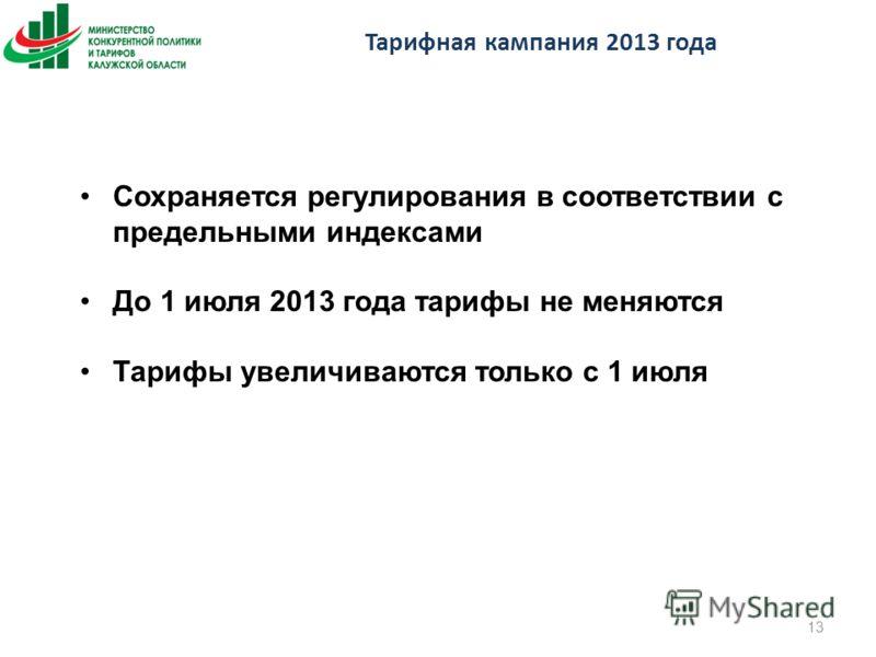 Тарифная кампания 2013 года 13 Сохраняется регулирования в соответствии с предельными индексами До 1 июля 2013 года тарифы не меняются Тарифы увеличиваются только с 1 июля