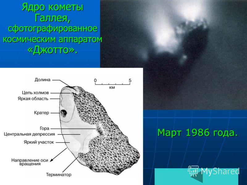Март 1986 года. Ядро кометы Галлея, сфотографированное космическим аппаратом «Джотто».