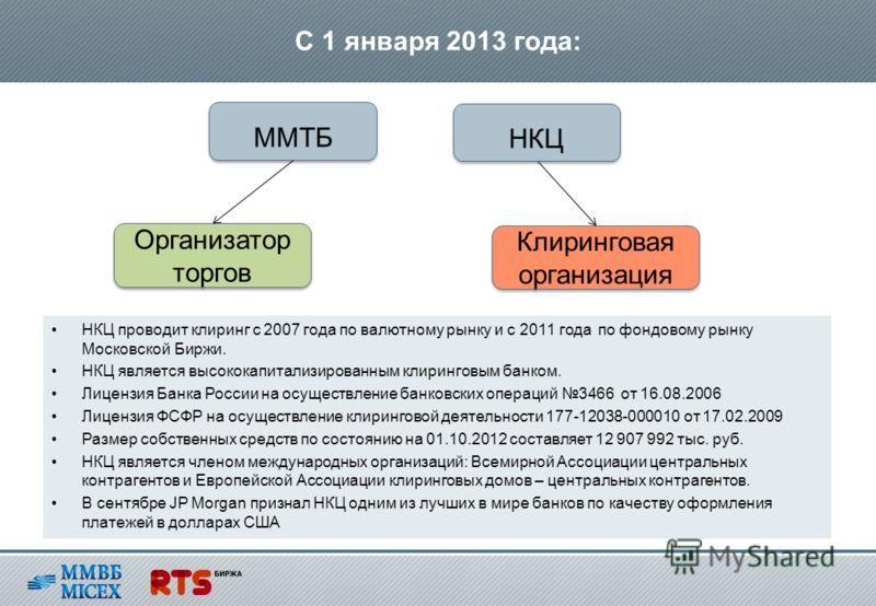НКЦ проводит клиринг с 2007 года по валютному рынку и с 2011 года по фондовому рынку Московской Биржи. НКЦ является высококапитализированным клиринговым банком. Лицензия Банка России на осуществление банковских операций 3466 от 16.08.2006 Лицензия ФС