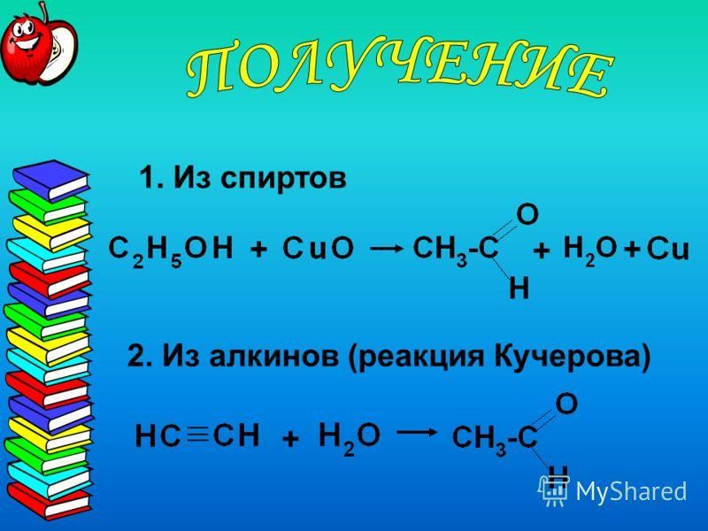 + 2. Из алкинов (реакция Кучерова) 1. Из спиртов + + +