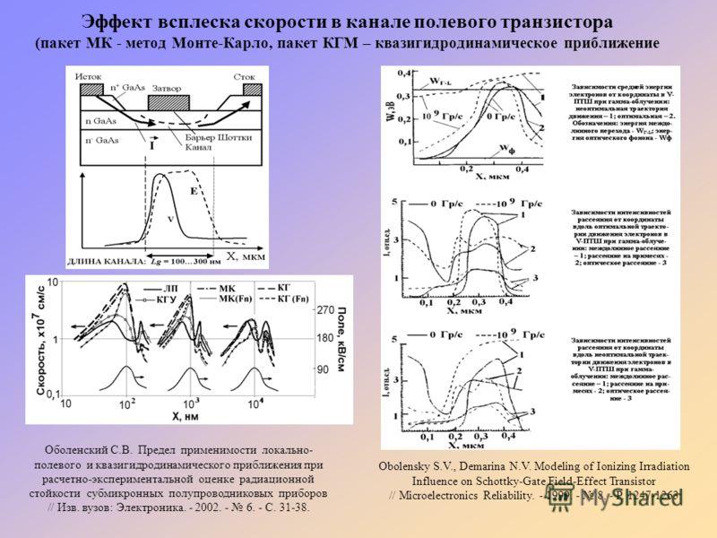 Эффект всплеска скорости в канале полевого транзистора (пакет МК - метод Монте-Карло, пакет КГМ – квазигидродинамическое приближение Оболенский С.В. Предел применимости локально- полевого и квазигидродинамического приближения при расчетно-эксперимент