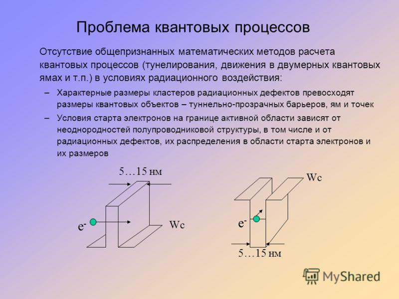 Проблема квантовых процессов Отсутствие общепризнанных математических методов расчета квантовых процессов (тунелирования, движения в двумерных квантовых ямах и т.п.) в условиях радиационного воздействия: –Характерные размеры кластеров радиационных де