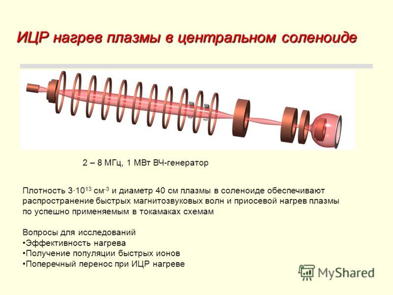ИЦР нагрев плазмы в центральном соленоиде 2 – 8 МГц, 1 МВт ВЧ-генератор Плотность 3·10 13 см -3 и диаметр 40 см плазмы в соленоиде обеспечивают распространение быстрых магнитозвуковых волн и приосевой нагрев плазмы по успешно применяемым в токамаках