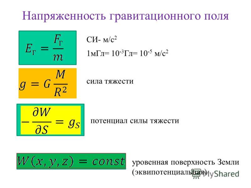Напряженность гравитационного поля СИ- м/с 2 1мГл= 10 -3 Гл= 10 -5 м/с 2 сила тяжести потенциал силы тяжести уровенная поверхность Земли (эквипотенциальная)