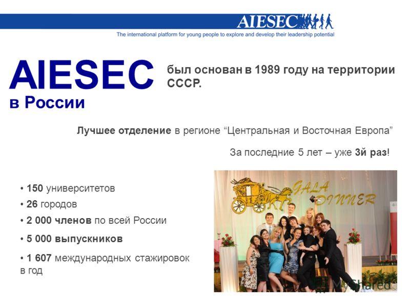 в России был основан в 1989 году на территории СССР. Лучшее отделение в регионе Центральная и Восточная Европа За последние 5 лет – уже 3й раз! 150 университетов 26 городов 2 000 членов по всей России 5 000 выпускников 1 607 международных стажировок