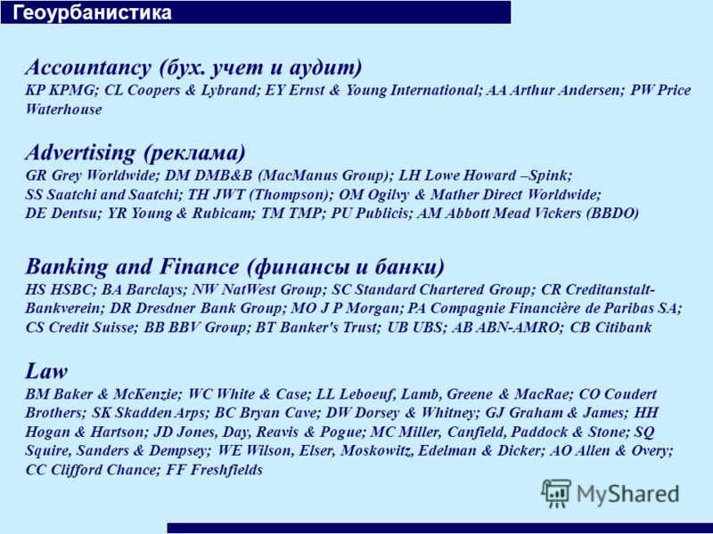 Геоурбанистика Accountancy (бух. учет и аудит) KP KPMG; CL Coopers & Lybrand; EY Ernst & Young International; AA Arthur Andersen; PW Price Waterhouse Advertising (реклама) GR Grey Worldwide; DM DMB&B (MacManus Group); LH Lowe Howard –Spink; SS Saatch