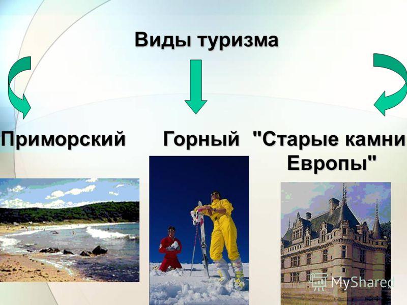 Виды туризма ПриморскийГорный Старые камни Европы