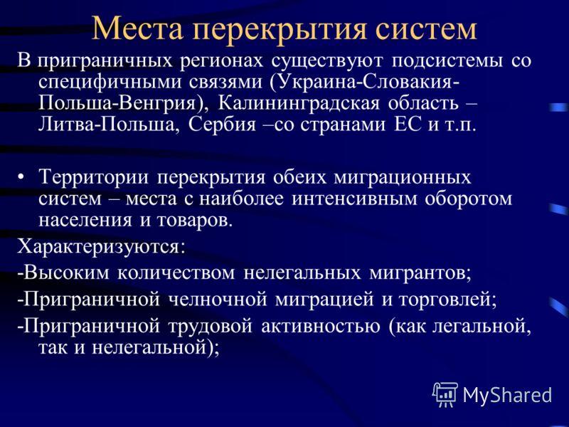 Места перекрытия систем В приграничных регионах существуют подсистемы со специфичными связями (Украина-Словакия- Польша-Венгрия), Калининградская область – Литва-Польша, Сербия –со странами ЕС и т.п. Территории перекрытия обеих миграционных систем –