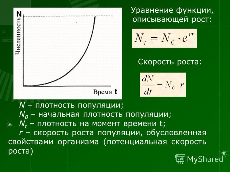 Уравнение функции, описывающей рост: Скорость роста: N – плотность популяции; N 0 – начальная плотность популяции; N t – плотность на момент времени t; r – скорость роста популяции, обусловленная свойствами организма (потенциальная скорость роста)