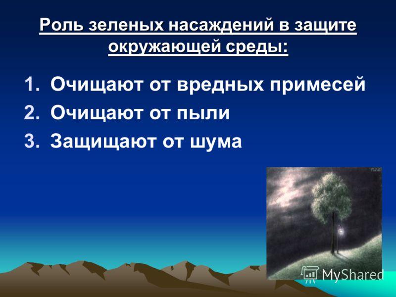 Роль зеленых насаждений в защите окружающей среды: 1.Очищают от вредных примесей 2.Очищают от пыли 3.Защищают от шума