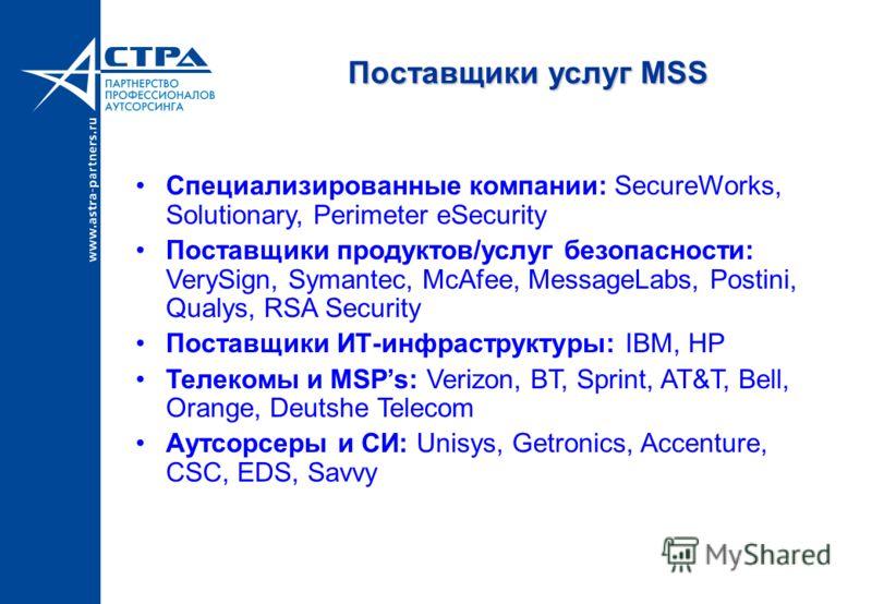 Поставщики услуг MSS Специализированные компании: SecureWorks, Solutionary, Perimeter eSecurity Поставщики продуктов/услуг безопасности: VerySign, Symantec, McAfee, MessageLabs, Postini, Qualys, RSA Security Поставщики ИТ-инфраструктуры: IBM, HP Теле