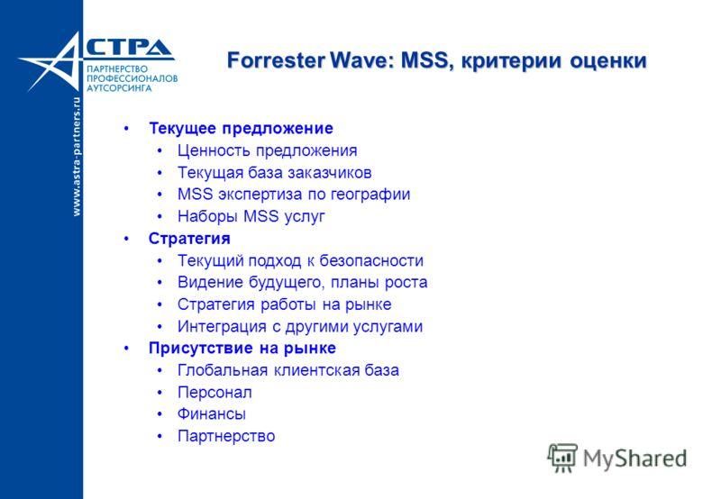Forrester Wave: MSS, критерии оценки Текущее предложение Ценность предложения Текущая база заказчиков MSS экспертиза по географии Наборы MSS услуг Стратегия Текущий подход к безопасности Видение будущего, планы роста Стратегия работы на рынке Интегра
