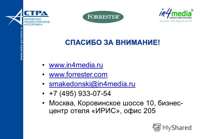 СПАСИБО ЗА ВНИМАНИЕ! www.in4media.ru www.forrester.com smakedonski@in4media.ru +7 (495) 933-07-54 Москва, Коровинское шоссе 10, бизнес- центр отеля «ИРИС», офис 205