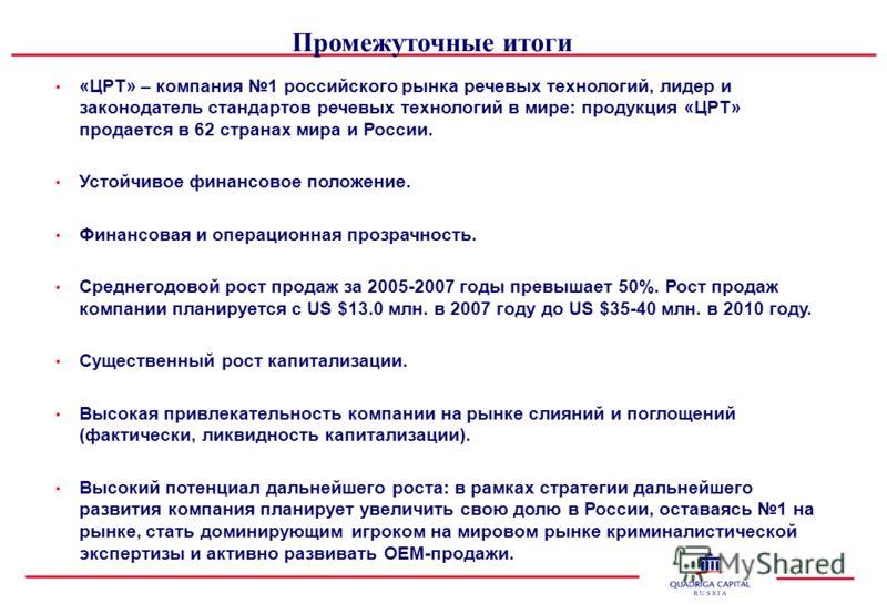 «ЦРТ» – компания 1 российского рынка речевых технологий, лидер и законодатель стандартов речевых технологий в мире: продукция «ЦРТ» продается в 62 странах мира и России. Устойчивое финансовое положение. Финансовая и операционная прозрачность. Среднег