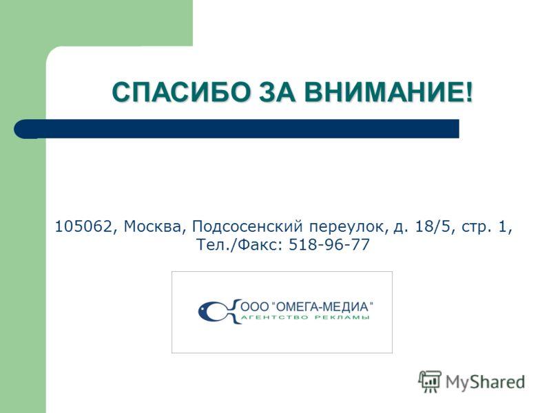 105062, Москва, Подсосенский переулок, д. 18/5, стр. 1, Тел./Факс: 518-96-77 СПАСИБО ЗА ВНИМАНИЕ!