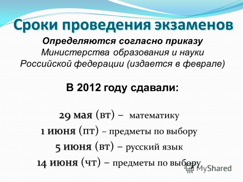 Сроки проведения экзаменов 29 мая 29 мая (вт) – математику 1 июня 1 июня (пт) – предметы по выбору 5 июня 5 июня (вт) – русский язык 14 июня 14 июня (чт) – предметы по выбору Определяются согласно приказу Министерства образования и науки Российской ф