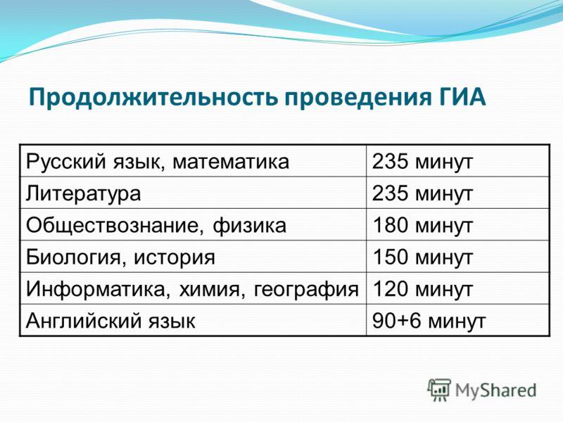 Продолжительность проведения ГИА Русский язык, математика235 минут Литература235 минут Обществознание, физика180 минут Биология, история150 минут Информатика, химия, география120 минут Английский язык90+6 минут