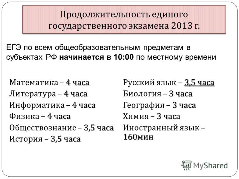 Продолжительность единого государственного экзамена 2013 г. 4 часа Математика – 4 часа 4 часа Литература – 4 часа 4 часа Информатика – 4 часа 4 часа Физика – 4 часа 3,5 часа Обществознание – 3,5 часа 3,5 часа История – 3,5 часа 3,5 часа Русский язык