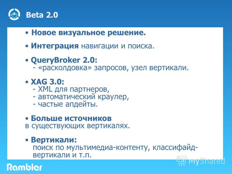 Beta 2.0 Новое визуальное решение. Интеграция навигации и поиска. QueryBroker 2.0: - «расколдовка» запросов, узел вертикали. XAG 3.0: - XML для партнеров, - автоматический краулер, - частые апдейты. Больше источников в существующих вертикалях. Вертик