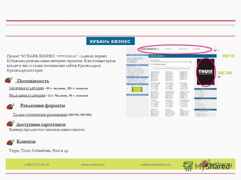 Проект КУБАНЬ БИЗНЕС www.kub.ru - один из первых Кубанских региональных интернет-проектов. В настоящее время входит в число самых посещаемых сайтов Краснодара и Краснодарского края. Месячная аудитория – 50 т. человек, 200 т. показов Недельная аудитор