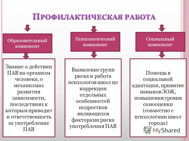 Образовательный компонент Психологический компонент Социальный компонент Знание о действии ПАВ на организм человека, о механизмах развития зависимости, последствиях к которым приводит и ответственность за употребление ПАВ Выявление групп риска и рабо