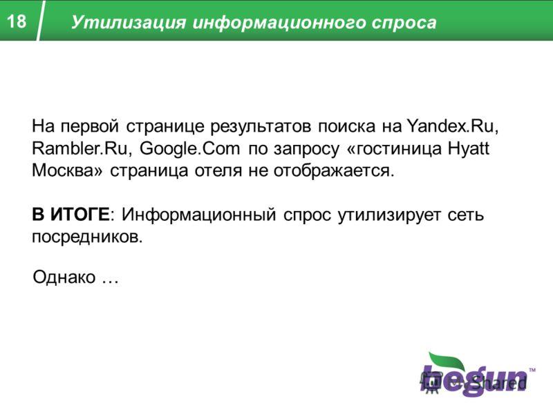 18 На первой странице результатов поиска на Yandex.Ru, Rambler.Ru, Google.Com по запросу «гостиница Hyatt Москва» страница отеля не отображается. В ИТОГЕ: Информационный спрос утилизирует сеть посредников. Однако … Утилизация информационного спроса