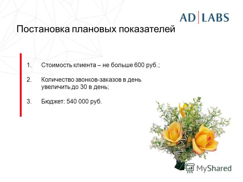 Постановка плановых показателей 1.Стоимость клиента – не больше 600 руб.; 2.Количество звонков-заказов в день увеличить до 30 в день; 3.Бюджет: 540 000 руб.