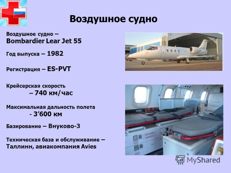 Воздушное судно Воздушное судно – Bombardier Lear Jet 55 Год выпуска – 1982 Регистрация – ES-PVT Крейсерская скорость – 740 км/час Максимальная дальность полета - 3600 км Техническая база и обслуживание – Таллинн, авиакомпания Avies Базирование – Вну