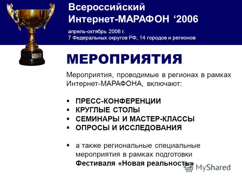 Всероссийский Интернет-МАРАФОН 2006 апрель-октябрь 2006 г. 7 Федеральных округов РФ, 14 городов и регионов МЕРОПРИЯТИЯ Мероприятия, проводимые в регионах в рамках Интернет-МАРАФОНА, включают: ПРЕСС-КОНФЕРЕНЦИИ КРУГЛЫЕ СТОЛЫ СЕМИНАРЫ И МАСТЕР-КЛАССЫ О