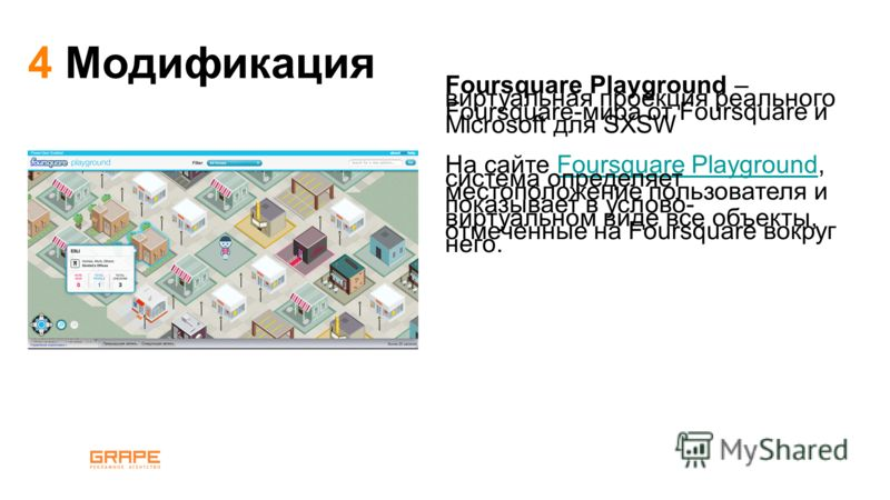 Foursquare Playground – виртуальная проекция реального Foursquare-мира от Foursquare и Microsoft для SXSW На сайте Foursquare Playground, система определяет местоположение пользователя и показывает в услово- виртуальном виде все объекты, отмеченные н