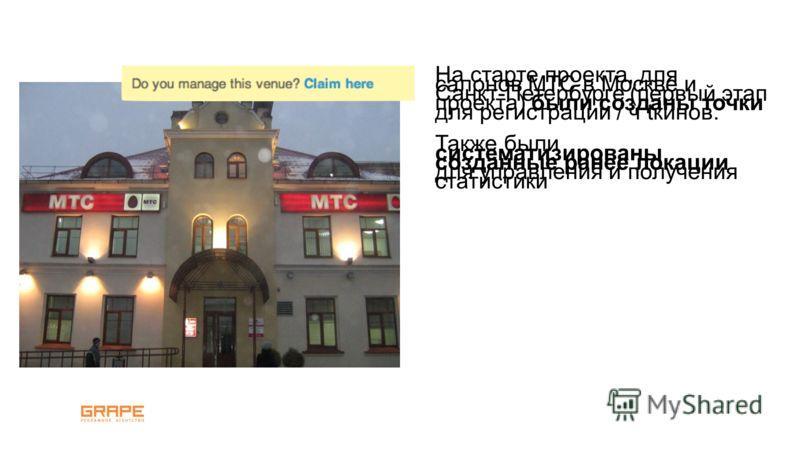 На старте проекта, для салонов МТС в Москве и Санкт-Петербурге (первый этап проекта) были созданы точки для регистрации / ч tкинов. Также были систематизированы созданные ранее локации для управления и получения статистики