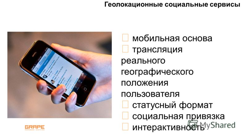 Геолокационные социальные сервисы мобильная основа трансляция реального географического положения пользователя статусный формат социальная привязка интерактивность