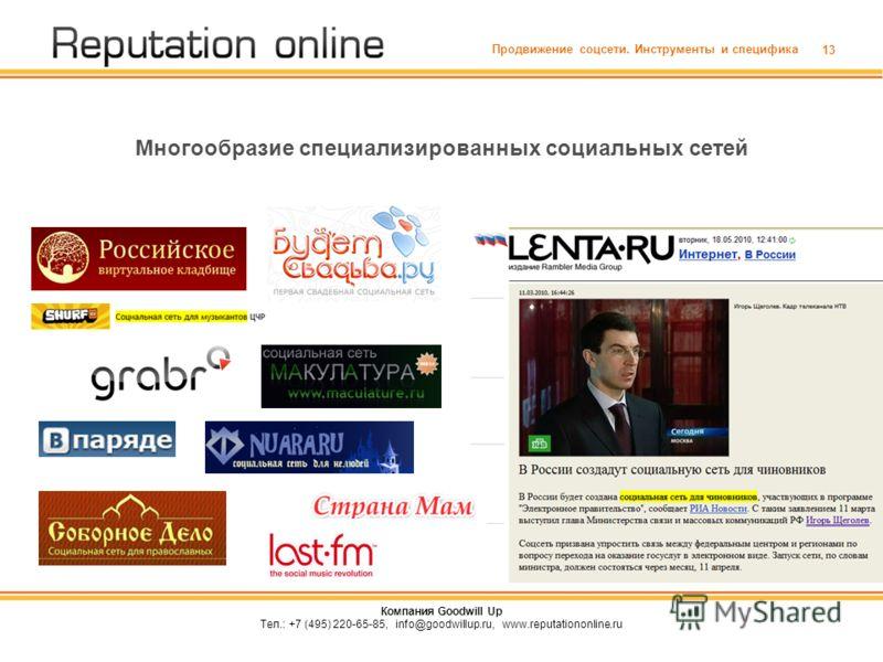 13 Многообразие специализированных социальных сетей Продвижение соцсети. Инструменты и специфика Компания Goodwill Up Тел.: +7 (495) 220-65-85, info@goodwillup.ru, www.reputationonline.ru