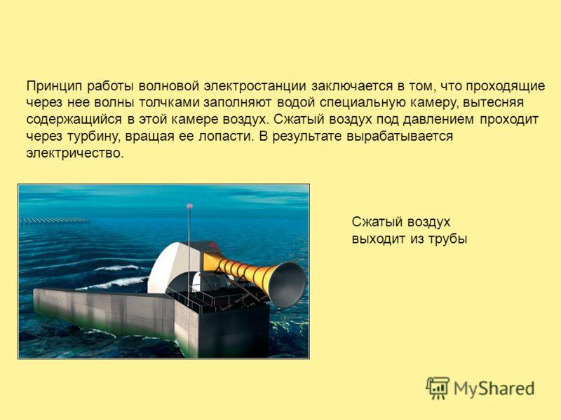 Принцип работы волновой электростанции заключается в том, что проходящие через нее волны толчками заполняют водой специальную камеру, вытесняя содержащийся в этой камере воздух. Сжатый воздух под давлением проходит через турбину, вращая ее лопасти. В